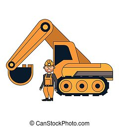 Mining worker with backhoe vector illustration graphic...