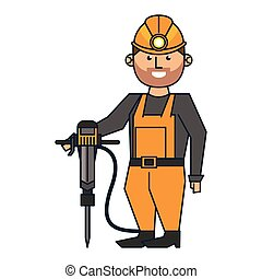 Mining worker with helmet and drill
