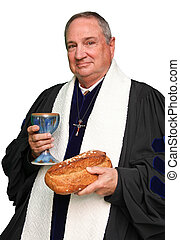 Minister in Black robe with white collar holding the bread and wine communion elements