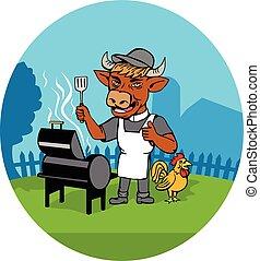 ministro, caricatura, mucca, chef, barbecue, clero, gallo