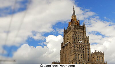 Ministry of Foreign Affairs buiding in Moscow Russia time lapse