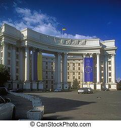 Flags of Ukraine and EU on foreign ministry in Kyiv, Ukraine.