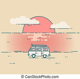 Minivan and sea sunset landscape. Adventure and Travel...