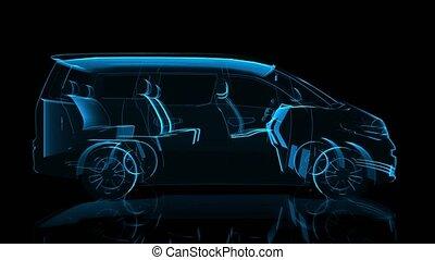 Minivan. Black and blue shine Formation of Model Big Truck 360 Degree Rotating. 4k x-ray animation auto