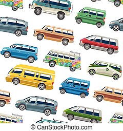 Minivan car vector van auto vehicle family minibus vehicle and automobile banner isolated citycar on white seamless pattern background