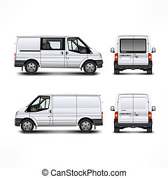 Minivan car, white bus isolated on white, vector...