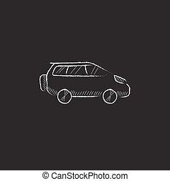 Minivan. Drawn in chalk icon.