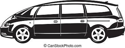 minivan - black and white illustration of  minivan