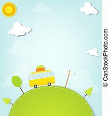 minivan, heuvel, spotprent