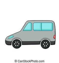 Minivan icon, cartoon style