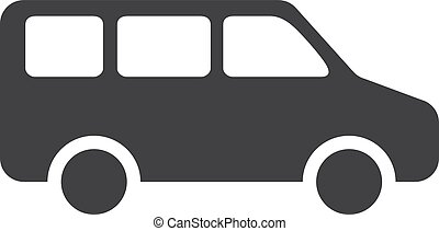 Minivan icon in black on a white background. Vector illustration