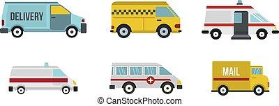 minivan, icona, set, appartamento, stile