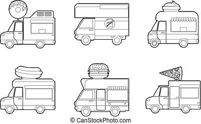 minivan, icona, set, contorno, stile