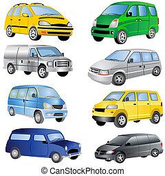 minivan, iconos, conjunto