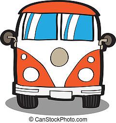 minivan, ., karikatúra, autó
