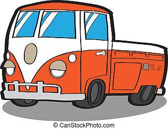 minivan, ., karikatur, auto