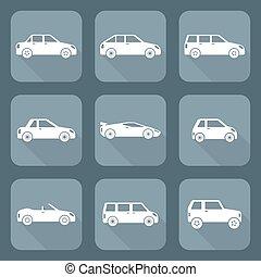 minivan, microcar, sedan, crossover, supercar, olika, lägenhet, kropp, cabriolet, kompakt, campare, salong, design, sportcar, vektor, halvkombi, minibus, klassifikation, bilar, sätta, slagen, station, ikonen, vagn, vit, glasscoupe