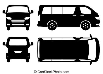Minivan silhouette vector illustration side, front, back, top view