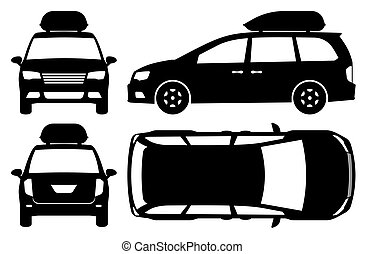 Minivan silhouette vector illustration with side, front, back, top view
