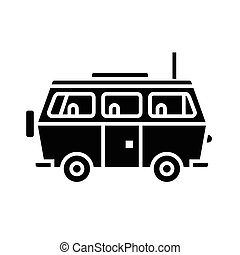 minivan travel - family car icon, vector illustration, black sign on isolated background
