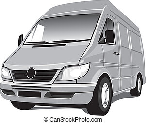 Minivan - Vector isolated mini bus van, cargo and passengers