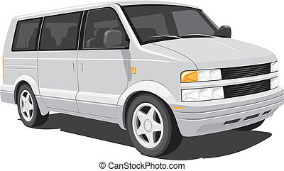 Vector isolated minivan on white background, without gradients