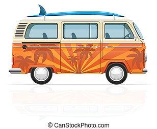minivan, vetorial, surfboard, ilustração, retro