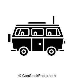 minivan, viaje, -, automóvil de familia, icono, vector, ilustración, negro, señal, en, aislado, plano de fondo