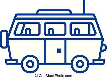 minivan, viaje, coche, línea, icono, concept., minivan, viaje, coche, plano, vector, símbolo, señal, contorno, illustration.