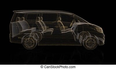 Minivan. Wireframe triangle formation of 3d Model minivan. Rotating 360 Degree. 4k animation