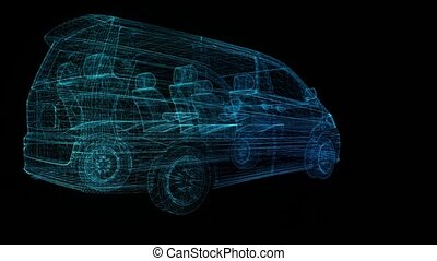 Minivan. Wireframe triangle formation of 3d Model minivan. ...