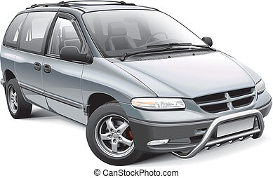 Minivan with roo bar - Detail vector image of American...
