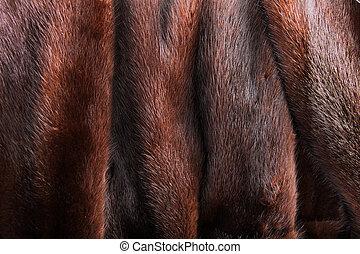 Mink fur - A close up of a natural brown mink coat