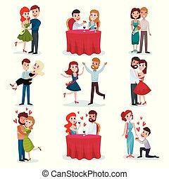 minnaars, liefde, romantische, dancing, set, het koesteren, datum, stellen, vector, diner, illustraties, spotprent, vrolijke