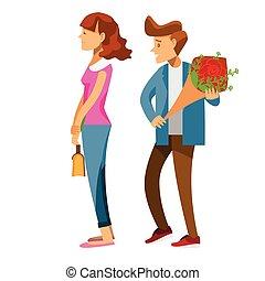 minnaars, roos, karakter, back, jonge, vasthouden, spotprent, datum, rood, man