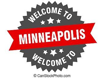 minneapolis, benvenuto, adesivo, segno., rosso