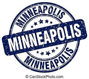 Minneapolis blue grunge round vintage rubber stamp