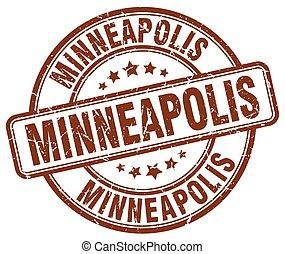 Minneapolis brown grunge round vintage rubber stamp