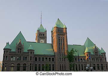 Minneapolis City Hall and Hennepin County Courthouse building of Richardsonian Romanesque architectural style in downtown