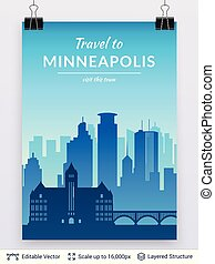 Minneapolis famous city scape. - Flat well known...