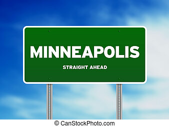 Minneapolis Highway Sign - Green Minneapolis, Minnesota, USA...
