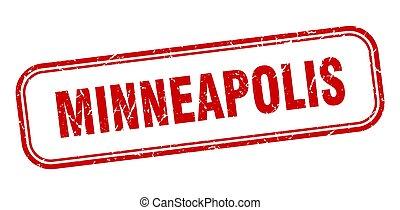 minneapolis, isolato, grunge, segno, rosso, stamp.