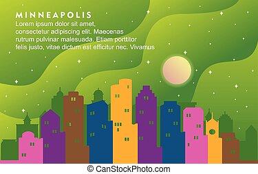 Minneapolis Minnesota City Building Cityscape Skyline Dynamic Background Illustration