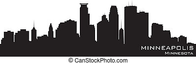 minneapolis, minnesota, skyline., detallado, vector, silueta