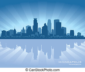 Minneapolis, Minnesota skyline with reflection in water