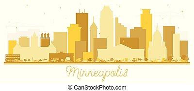 Minneapolis Minnesota USA Skyline Golden Silhouette. Vector...