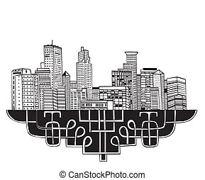 Minneapolis, MN Skyline. Black and white vector illustration...