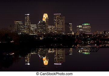 Minneapolis Night Skyline - Skyline of downtown Minneapolis...