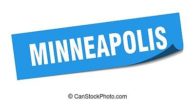 minneapolis, quadrato blu, peeler, sticker., segno