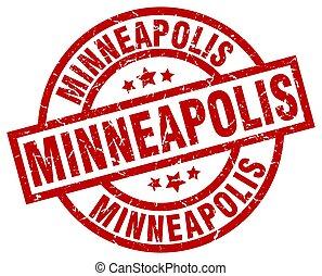Minneapolis red round grunge stamp